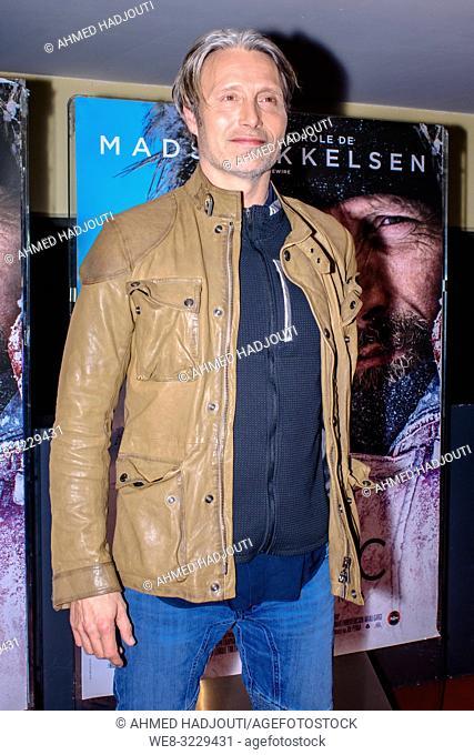 PARIS, FRANCE - January 29 : Mads Mikkelsen attends 'Arctic' Premiere At UGC Cine Cite Les Halles on January 29, 2019 in Paris, France