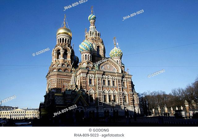 Exterior view beside Griboedov Canal of the Church of the Saviour on Spilled Blood Church of Resurrection, UNESCO World Heritage Site, St