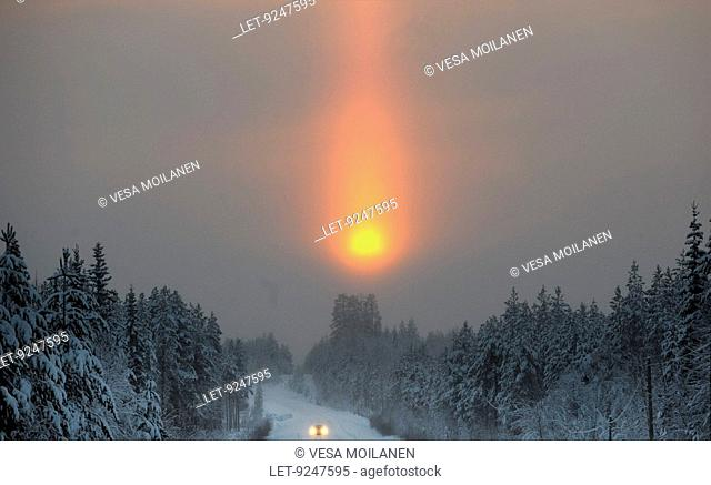 A sun pillar in Suomussalmi, Kainuu, Finland