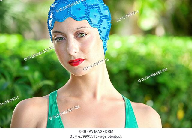 Portrait of a woman wearing a swimming cap, Biltmore Hotel, Coral Gables, Florida, USA