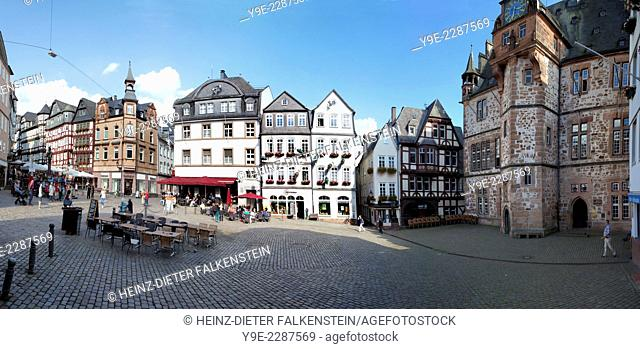 Historic Town Hall, market square, historic centre, Marburg, Hesse, Germany, Europe