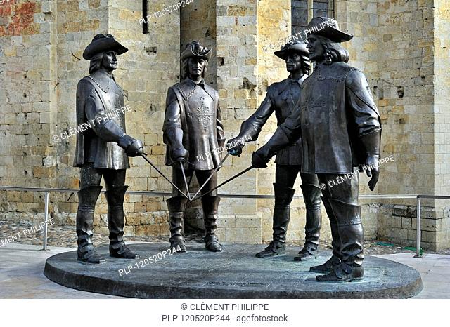 Statue of d'Artagnan and The Three Musketeers at Condom, Pyrenees, France