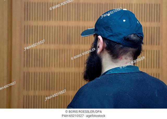 Suspected Islamist Halil D. enters the courtroom in the regional court in Frankfurt am Main,Germany, 21 January 2016. The 35-year-old German man with Turkish...