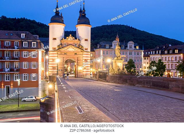 Carl Theodor Old Bridge in Heidelberg by dusk, Germany