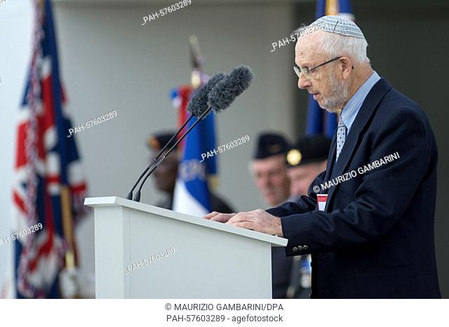 Saul Oren, survivor of the Sachsenhausen concentration camp, speaks at commemoration of the 70th anniversary of the liberation of Sachsenhausen in Oranienburg