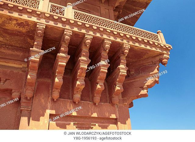 Fatehpur Sikri, Diwan-i-Khas detail of architecture, the abandoned Mogul City, Uttar Pradesh, India