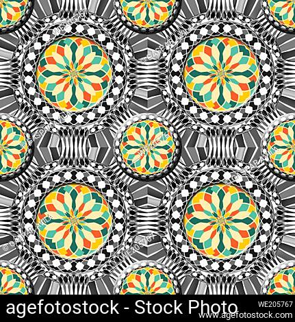 Beveled complex geometric pattern with colorful elements on a black and white background
