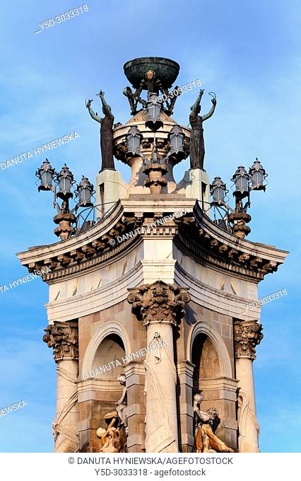 Plaça d'Espanya - Plaza Espana, detail of monumental fountain by Josep Maria Jujol, Sants-Montjuïc district, Barcelona, Catalonia, Spain, Europe