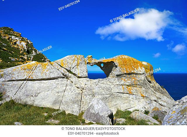 Pedra da Campa stone hole in Islas Cies islands at Vigo Spain