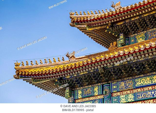 Ornate architecture on historical building, Beijing, Beijing Municipality, China