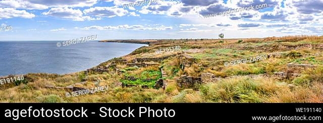 Ancient greek colony Olbia on the banks of the Southern Bug River in Ukraine on a cloudy summer day. Hi-res panoramic photo