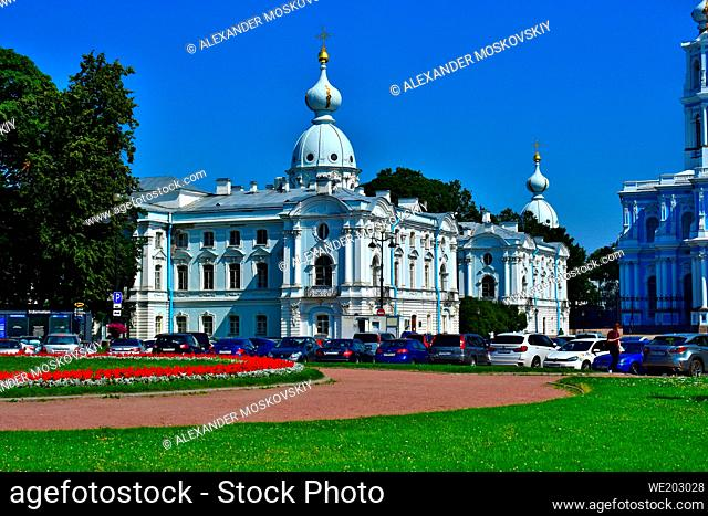 Marvelous Smolny Monastery facade. Right wing. Baroque architecture. Architect B.Rastrelli. St.Petersburg Russia