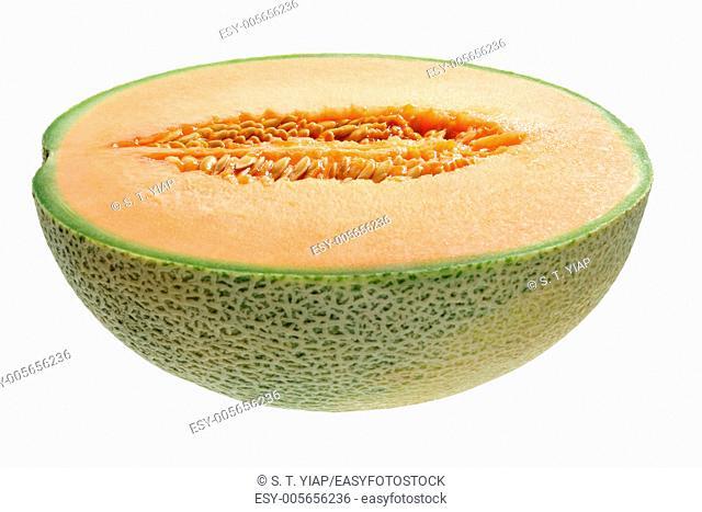Half of Rock Melon on White Background