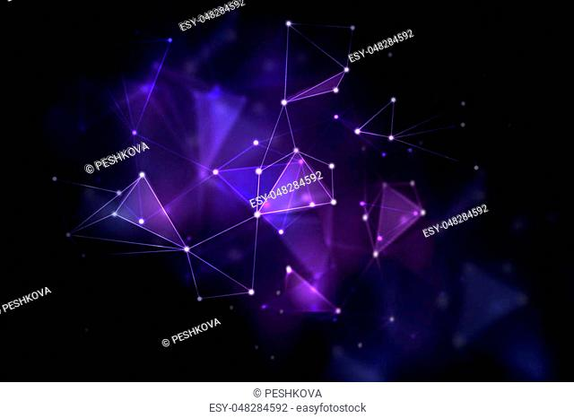 Creative glowing blurry polygonal background. Science and space concept. 3D Rendering