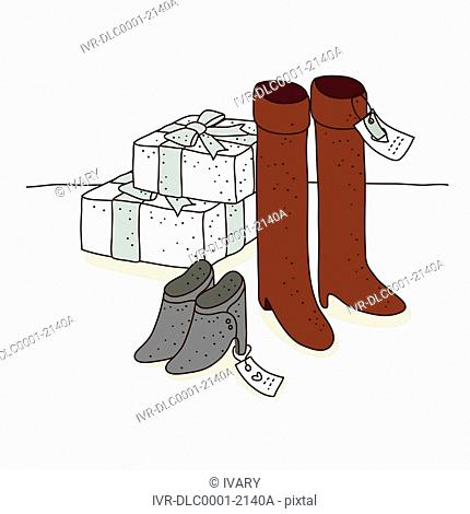 Illustration of boots and shoe on sale