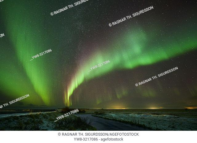 Markarfljotssandur outwash plains with Aurora Borealis, Iceland