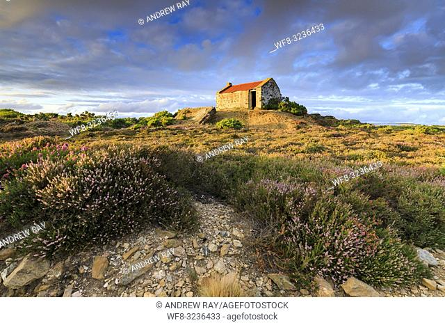 The former crib hut at the abandoned Copper Mine at Tywarnhayle, near Porthtowan in Cornwall bathed in late evening light