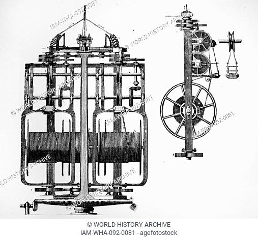 Machine for laying hemp strands into rope, showing (right)a side view and the tightening pulley. Dated 1863