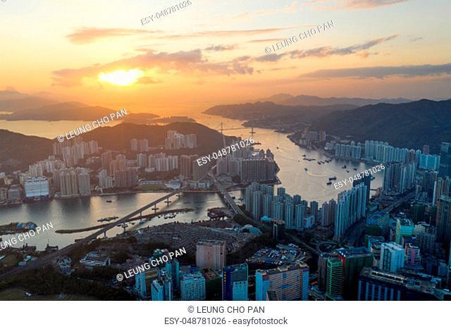 Tsuen Wan, Hong Kong, 14 February 2019:- Top view of Hong Kong city