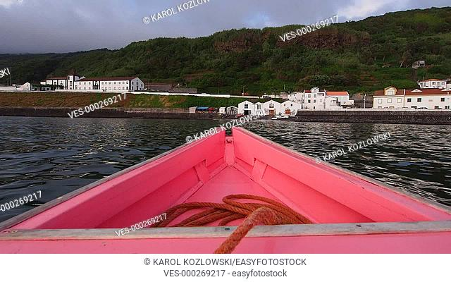 Traditional Whaling Boat arriving to Lajes on Pico Island, Azores, Portugal