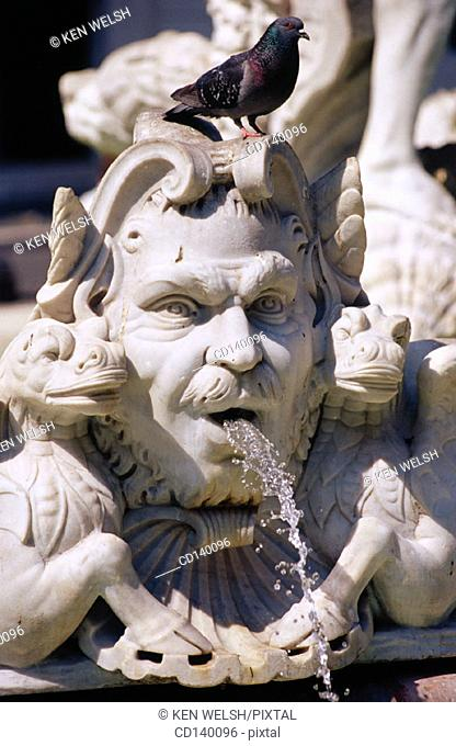 Detail of Fountain of the Moor. Piazza Navona. Rome. Italy