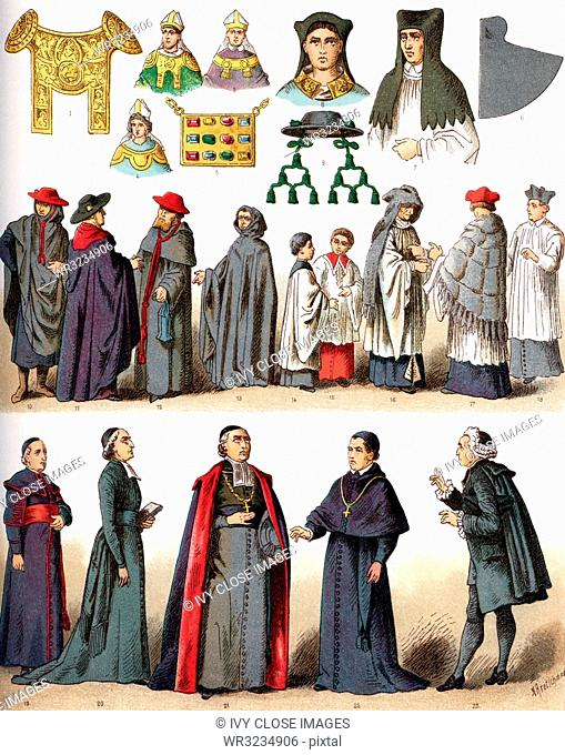 The illustrations shown here depict ecclesiastical costumes. They are, by row, from left to right, top to bottom: 1 through 4 Rational (used by German bishops...