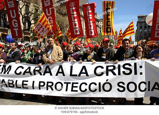 Demonstration on May Day, 2009. Barcelona, Spain
