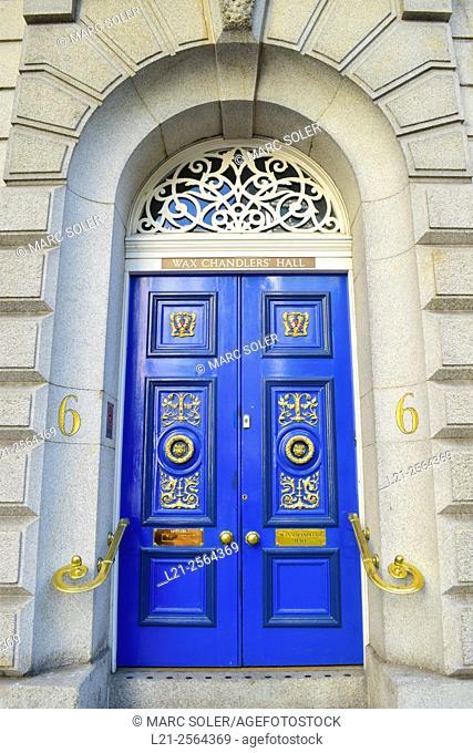 Wax Chandler's Hall building, entrance. London, England, United Kingdom