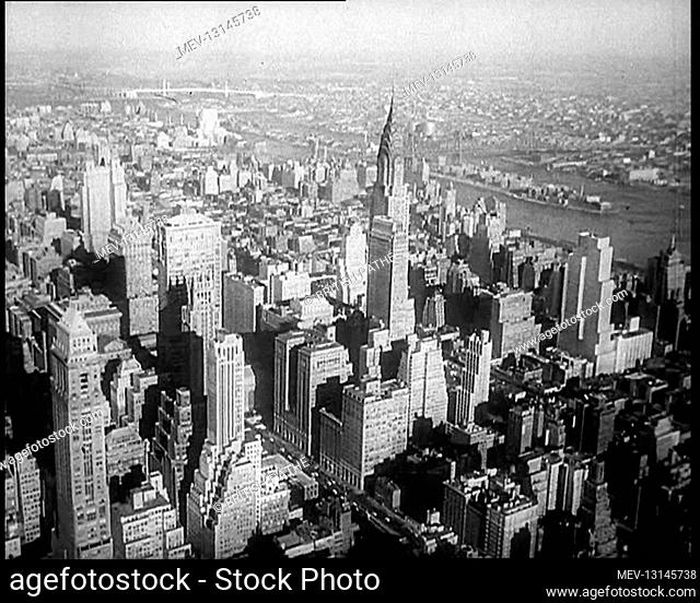 Aerial Shot of New York City and the Chrysler Building, USA - United States of America