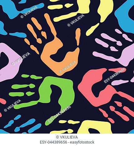 Seamless pattern with human handprints, colorful man hand stamps on dark background, vector hands illustration