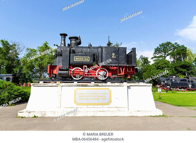 First in Re?i?a built locomotive, in 1872, open-air steam engine museum, steam locomotives exhibit, Reschitz, Resita, Cara?-Severin, Banat, Romania, Romania