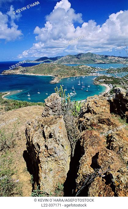 The view from Shirley Heights stretches over the harbour and far across the Caribbean to Montserrat and Guadaloupe. Antigua island