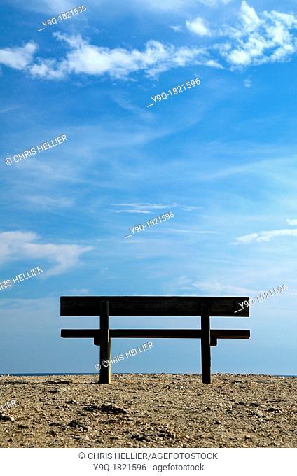 Single Bench on Coast or Sea Shore Embiez Islands Var Provence France