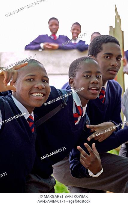 School children outside classroom, St Mark's School, Mbabane, Hhohho, Kingdom of Swaziland