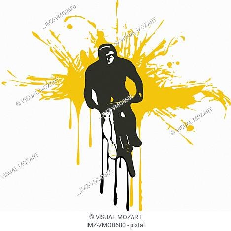 A mountain biker illlustrated in a white and orange background