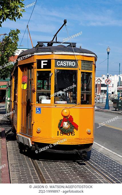 Orange Muni cable car, San Francisco, California, United States of America