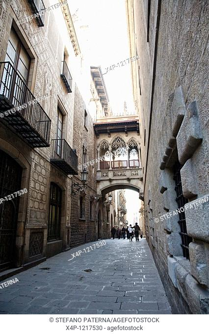 The Barri Gotic or Barrio Gotico in Barcelona in the district of Ciutat Vella and belongs to the old town. It is located southeast of the square Placa de...