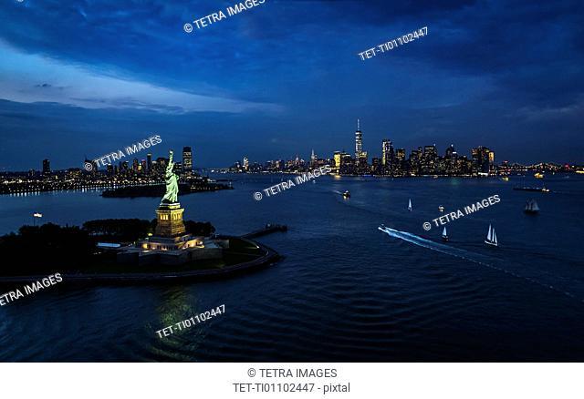 USA, New York, New York City, Statue of liberty at night