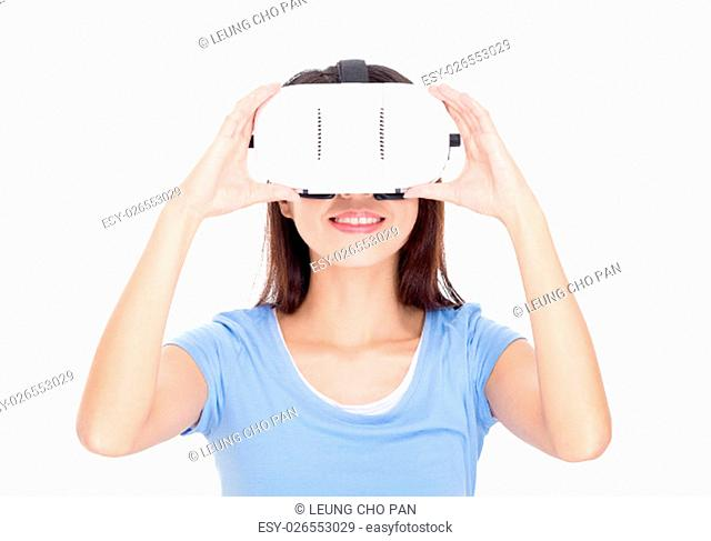 Woman wear of vr device