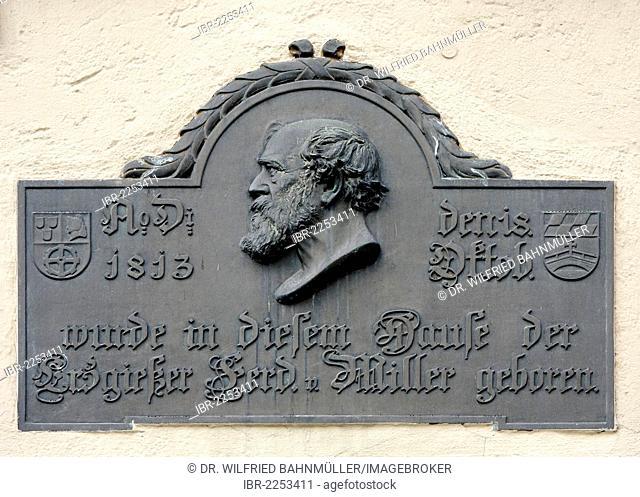 Birthplace of the Munich brass-caster Ferdinand von Miller, 1813-1887, in Hauptstrasse street, Fuerstenfeldbruck, Upper Bavaria, Bavaria, Germany, Europe
