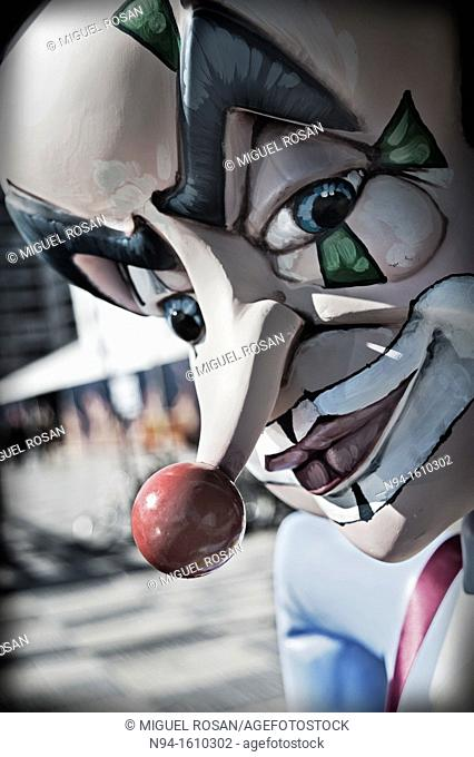 Closeup of Head of a'Ninot'. Fallas celebration, Valencia, Spain