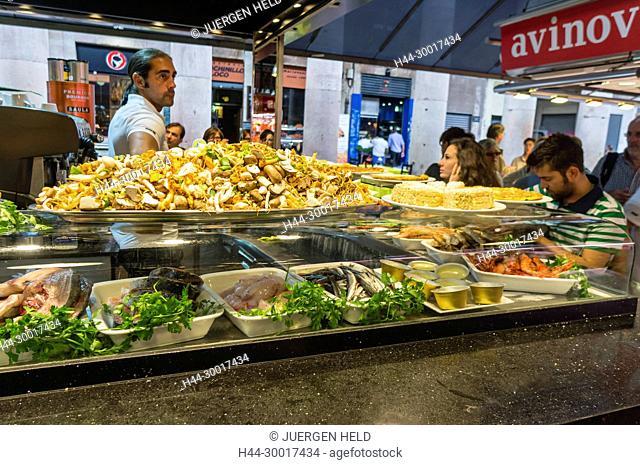 Spain, Catalonia, Catalunya, Barcelona, La Ramblas, Tapas Bar in La Boqueria Market