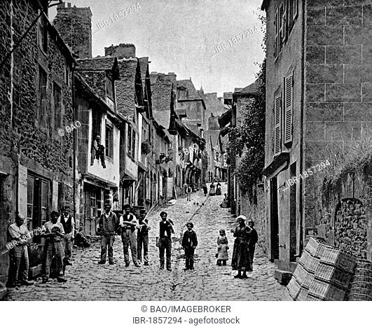 Early autotype of Dinan, Brittany, France, historical photo, 1884