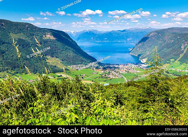 Aerial view of the village Vik in Sogn and Fjordane county in Norway at the southern shore of the Sognefjord and along the Gaularfjellet scenic route