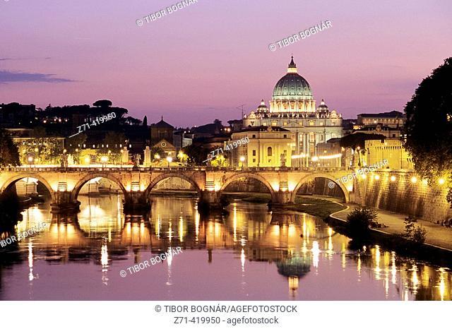 Sant'Angelo Bridge and St. Peter's Basilica in background, Rome. Lazio, Italy