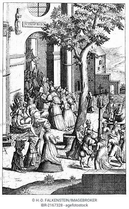 Historical illustration from the 19th Century, Dutch caricature of the Roman Church in the Middle Ages