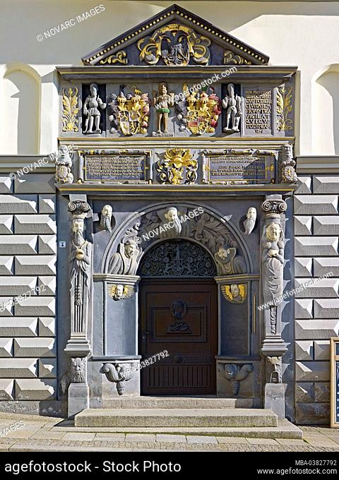 Renaissance portal at the town hall in Gera, Thuringia, Germany