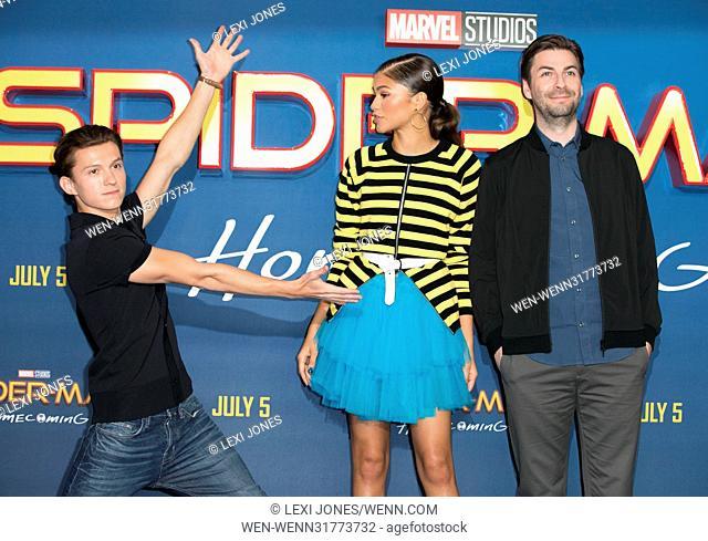 'Spider-Man: Homecoming' film photocall, London, UK Featuring: Tom Holland, Zendaya, Jon Watts Where: London, United Kingdom When: 15 Jun 2017 Credit: Lexi...