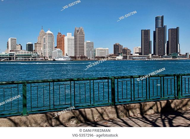 Skyline of downtown Detroit, Michigan, USA. Detroit is known as The Motor City, The D, Motown, Hockeytown and the Murder City