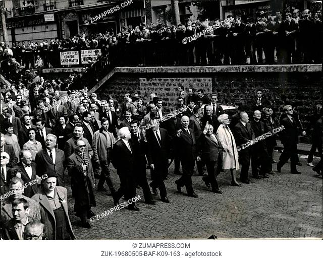 May 05, 1968 - Over 200,000 workers Demonstrate in Paris . Over 200.000 CGT workers and supporters Marched from the Bastille to Saint Lazare station in one of...